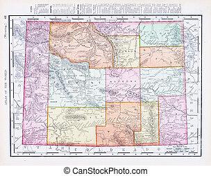 Anticuado mapa de colores de wyoming, Estados Unidos