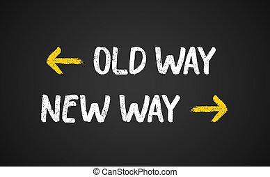 anticuado, señal, manera, illustration., flecha, viaje, vector, viejo nuevo