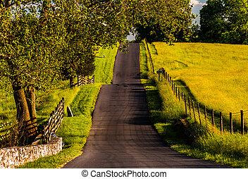 antietam, granja, campos, nacional, montuoso, maryland., camino, por, cercas, campo de batalla