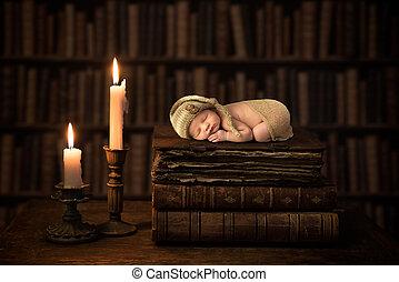 antigüedad, bebé, libros