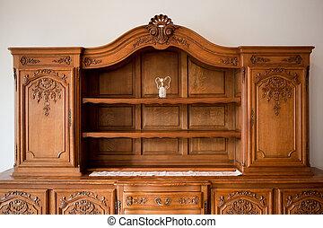 antigüedad, cajones, pecho, estante libros, muebles