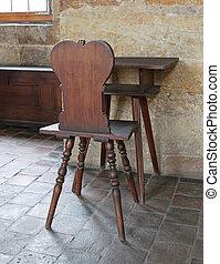 antigüedad, castillo, escritorio