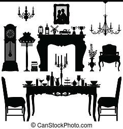 antigüedad, cenar, viejo, muebles