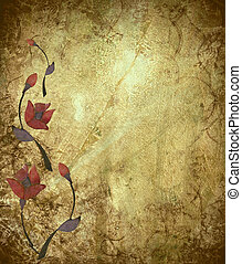 antigüedad, diseño, grunge, plano de fondo, floral