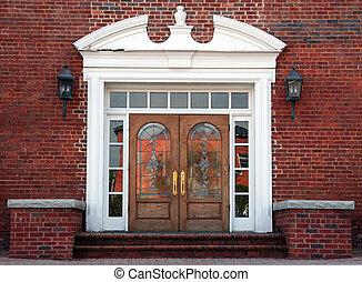 antigüedad, doble, dirigido, puertas, vidrio