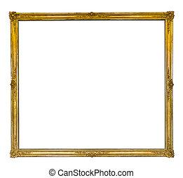 antigüedad, dorado, marco, delgado