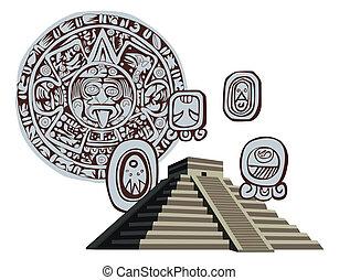 antigüedad, glyphs, maya, pirámide