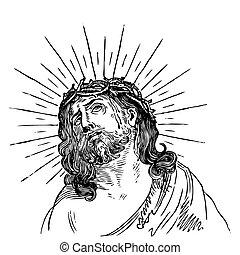 antigüedad, grabado, (vector), jesús