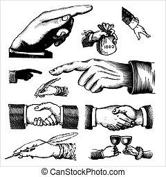 antigüedad, grabados, (vector), manos