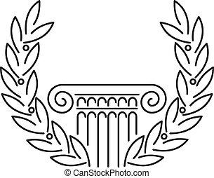 antigüedad, griego, columna, laurel