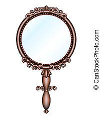antigüedad, hand-held, retro, espejo