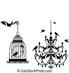 antigüedad, jaula, araña de luces