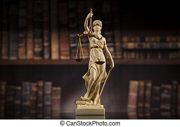 antigüedad, libros, plano de fondo, ley, estatua, justicia