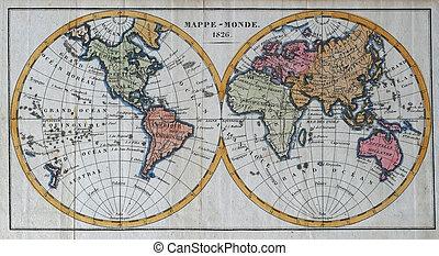 antigüedad, original, mapa, mundo