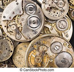 antigüedad, precisión, oro, partes, cuerpos, bolsillo, plata, reloj, vendimia