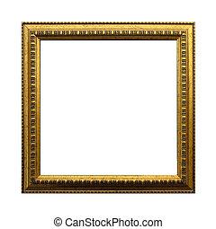 antigüedad, recorte, cuadrado, oro, marco, aislado, fondo., incluso, trayectoria, blanco