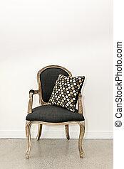 antigüedad, sillón, pared