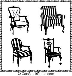 antigüedad, sillas, siluetas, conjunto