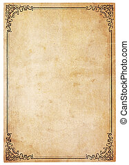 antigüedad, vendimia, papel, frontera, blanco