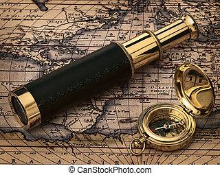 antigüedad, vendimia, reloj, mapa