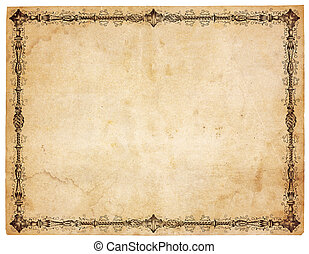 antigüedad, victoriano, papel, frontera, blanco