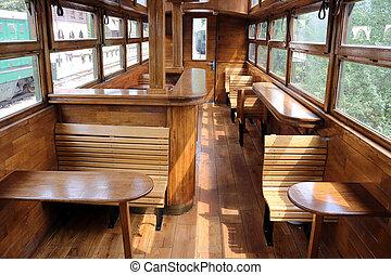Antigua cosecha de interiores del vagón ferroviario