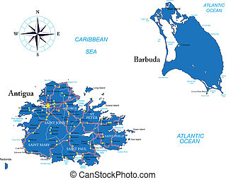 Antigua y mapa de barbuda