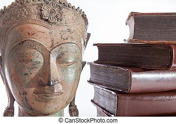 antiguo, books., filosofía, filósofo, buddha, estatua, educación, religioso, ethics.