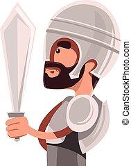 Antiguo guerrero con armadura completa