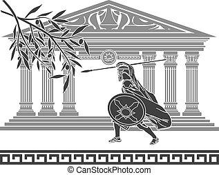 Antiguo guerrero y rama de olivo