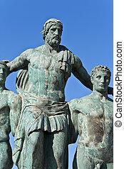 antiguo, isla, clásico, rodas, griego, estatua, grecia