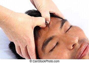antiguo, maya, tercero, chakras, terapia, ojo, masaje