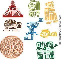 Antiguo maya y azteca totems o señales