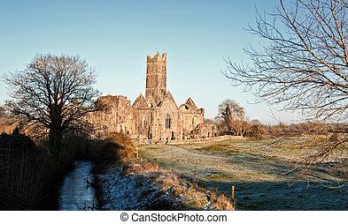 antiguo, turista, oeste, abadía, atracción, rural, irlanda