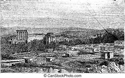 antiguo, vendimia, babylon, baalbek, ruinas, engraving.