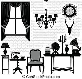 antiguo viejo, habitación, vestíbulo, muebles