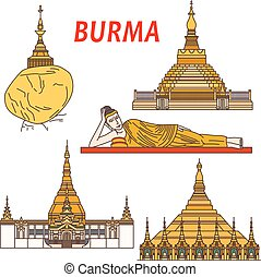 Antiguos templos budistas de icono colorido de Birmania
