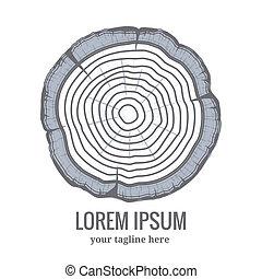 Anuales anillos de crecimiento del árbol logotipo