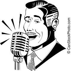 anunciador, micrófono, radio