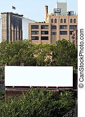 anuncio, cartelera, ciudad, espacio