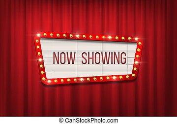 Anuncio de cine retro Vector con un marco de bombilla en el fondo de las cortinas rojas.