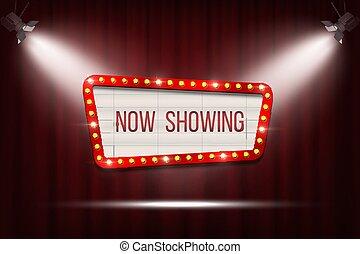Anuncio de cine retro Vector con un marco de bombilla en las cortinas rojas fondo con focos.