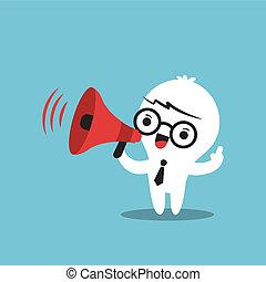 anuncio, empresa / negocio, marca, carácter, megáfono, caricatura
