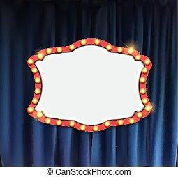 Anuncio realístico del cine retro con un marco de bombilla en el fondo de las cortinas. Ilustración de vectores