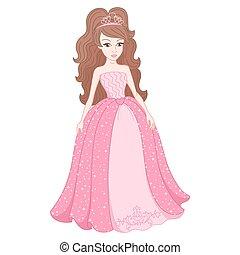 apacible, vestido, rosa, spangles, magnífico, princesa