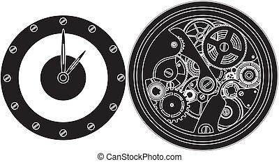 aparato de relojería, silueta