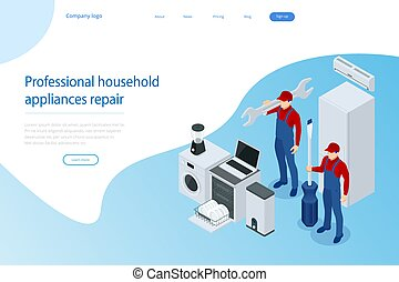 aparatos, servicio, concept., apoyo, casa, reparación, isométrico
