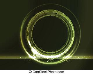 Aparcador redondo con efectos de luz verde