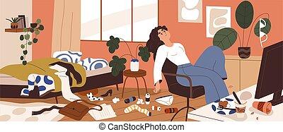 apartamento, lío, psicológico, apatía, desordenado, plano, mujer, vector, alrededor, perezoso, deprimido, desordenado, ilustración, basura, concepto, depresión, perezoso, home., disorder., room., sucio, persona