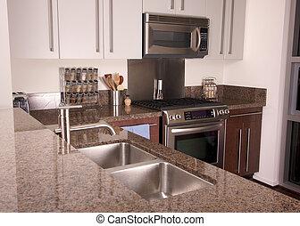 apartamento, moderno, cocina